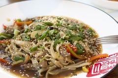 Tagliatelle cinesi con carne e verdure e cipolle verdi Fotografia Stock