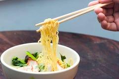 Tagliatelle cinesi dell'uovo con carne di maiale rossa i Immagini Stock