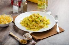 Tagliatelle com caril, alho-porro e alho da galinha Imagem de Stock Royalty Free