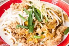 Tagliatelle con carne di maiale in Tailandia (Cuscinetto-tailandese) Fotografie Stock Libere da Diritti