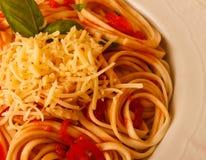 Tagliatelle con salsa al pomodoro immagine stock