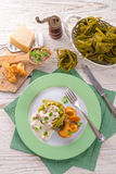 ,,tagliatelle con Spinaci,, with chanterelles Royalty Free Stock Photos