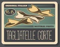 Tagliatelle corte włoski makaron, wektor royalty ilustracja