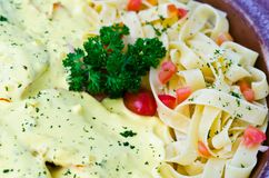 Tagliatelle with cream sauce Royalty Free Stock Image