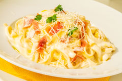 Tagliatelle Cured Meat Royalty Free Stock Photography