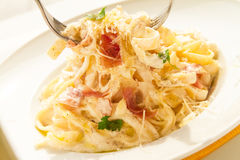 Tagliatelle Cured Meat Royalty Free Stock Image
