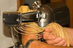 Tagliatelle cut. From doug to tagliatelle or fettuccine ready to little dry time Stock Photography