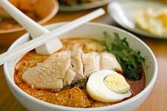 Tagliatelle del curry del pollo Fotografie Stock Libere da Diritti