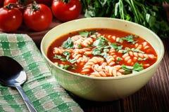 Tagliatelle della minestra del pomodoro nella ciotola Fotografia Stock