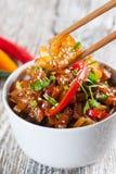 Tagliatelle di riso fritto con gamberetto Immagine Stock Libera da Diritti