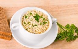 Tagliatelle e minestra del prezzemolo Immagine Stock