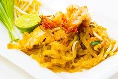 Tagliatelle fritte stir tailandese Fotografie Stock Libere da Diritti