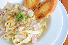 Tagliatelle with Ham and Cheese Stock Image