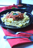 Tagliatelle homemade with bolognese sauce Royalty Free Stock Images