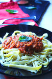 Tagliatelle homemade with bolognese sauce Royalty Free Stock Photos