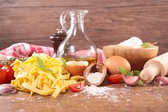 Tagliatelle and ingredient Stock Images