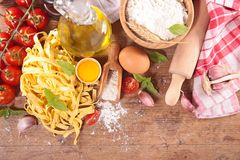 Tagliatelle and ingredient Royalty Free Stock Images
