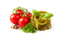 Tagliatelle and ingredients Stock Photo