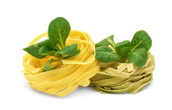 Tagliatelle italien de pâtes avec la mâche Photographie stock libre de droits