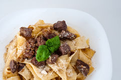 Tagliatelle with Lamb Carbonara. And Parmesan Royalty Free Stock Image