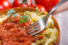 Tagliatelle with meat sauce Stock Photos