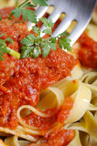 Tagliatelle with meat sauce Stock Image
