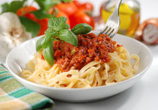 Tagliatelle with meat sauce Stock Photo