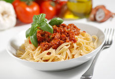 Tagliatelle with meat sauce Stock Photography