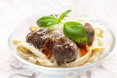 Tagliatelle with meatballs Royalty Free Stock Photo