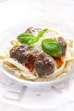 Tagliatelle with meatballs Royalty Free Stock Photography