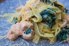 Tagliatelle med laxen och spenat italiensk pasta royaltyfria foton