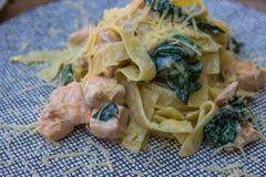 Tagliatelle med laxen och spenat italiensk pasta arkivbilder