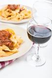 Tagliatelle met Bolognese Saus. Stock Foto's