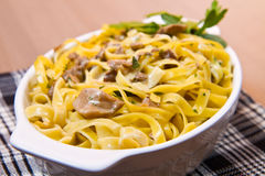 Tagliatelle with Mushroom Stock Photo