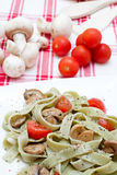 Tagliatelle with mushrooms and cheese Royalty Free Stock Photography