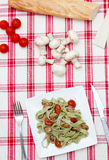 Tagliatelle with mushrooms and cheese Royalty Free Stock Photos