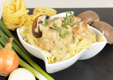 Tagliatelle with mushrooms and chicken Stock Photography
