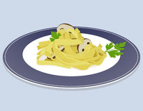 Tagliatelle with mushrooms and parsley Royalty Free Stock Images