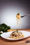 Tagliatelle with mushrooms Stock Photography