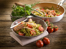 Tagliatelle with norway lobster Royalty Free Stock Image
