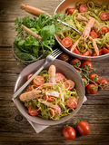 Tagliatelle with norway lobster Stock Photo