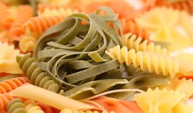 Tagliatelle paglia e fieno and different pastas. Royalty Free Stock Image
