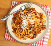 Tagliatelle Pasta with Bolognaise Sauce Royalty Free Stock Photography