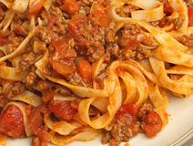 Tagliatelle Pasta with Bolognese Sauce Royalty Free Stock Images
