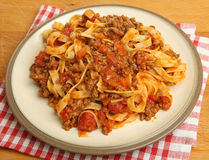 Tagliatelle Pasta with Bolognese Sauce Stock Photo