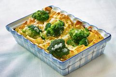 Tagliatelle pasta with broccoli and cheese sauce Stock Image