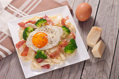 Tagliatelle pasta with broccoli, prosciutto and fried egg. Stock Photography