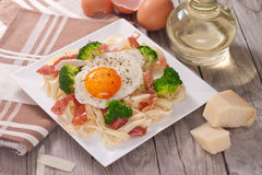 Tagliatelle pasta with broccoli, prosciutto and fried egg. Stock Image