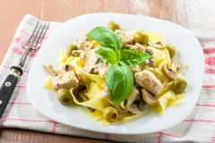 Tagliatelle pasta with chicken and mushrooms Royalty Free Stock Photography