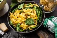 Spinach tagliatelle pasta Royalty Free Stock Photo